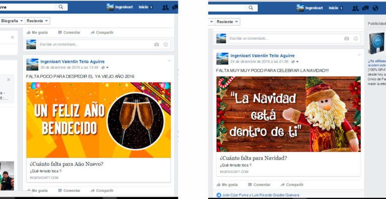 Campaña Navidad y Año Nuevo en facebook