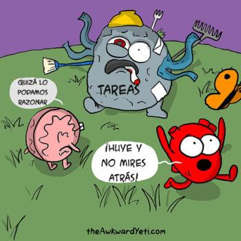 comic creativo cerebro vs corazon