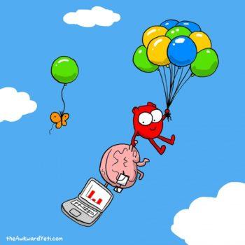 historieta creativa gracioso cerebro vs corazon