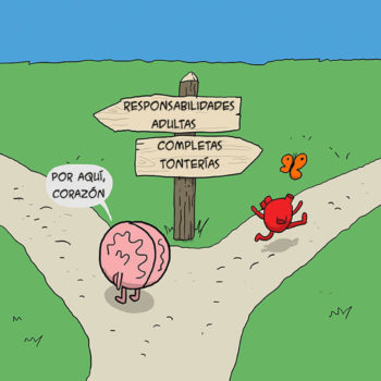 comic creativo corazon y cerebro